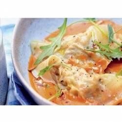Ravioles de crevettes aux deux sauces