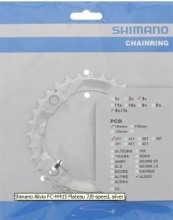 PLATEAU SHIMANO ALIVIO FC-M415 3*8S/7S 32T ARGENT